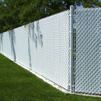 White Fence with Slats